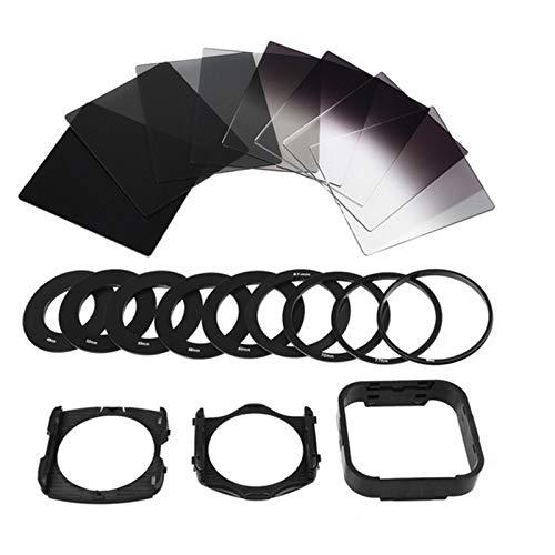 EisEyen 20 in 1 ND Filter Kit Fotografie Filtersatz Kameralinsen mit 8 ND Filter (volles ND2 ND4 ND8 ND16, Steigung ND2 .ND4 .ND8, ND.16) + 9 Filteradapterringe (49-82 mm) + 2 Halterungen + 1 Haube