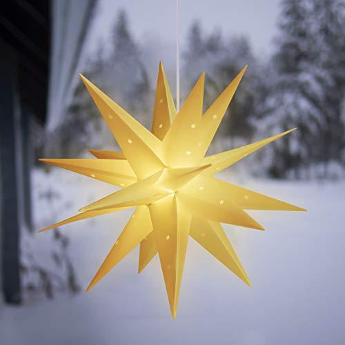 SALCAR 3D Leuchtstern mit warmweißem LED-Licht, 60cm LED Weihnachtsstern, Innen und Außen Sternlicht für Fenster- und Weihnachtsdekoration