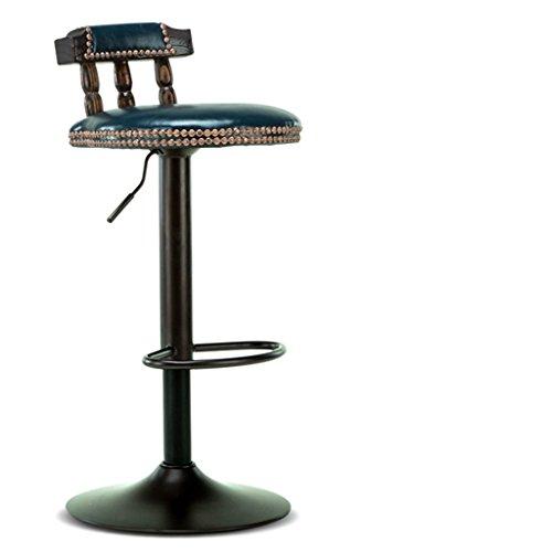 YANGSANJIN Barstoel Cqq Europese stijl Massief hout bar hoge stoel Hoge kruk Lift rugleuning barkruk Retro (Kleur : Donker groen)
