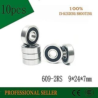 Ochoos 10PCS 609RS Bearing ABEC-3 9x24x7 mm Miniature Ball Bearings 609 2RS Rubber Sealed 609-2RS