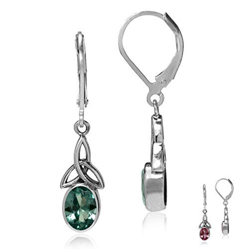 Silvershake Simulated Color Change Alexandrite 925 Sterling Silver Triquetra Celtic Knot Leverback Earrings