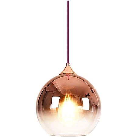 MZStech Lampe à suspension sphérique en verre de couleur dégradée, Suspension Luminaire en verre moderne basée sur des ampoules E27 (Or rose, 20CM)