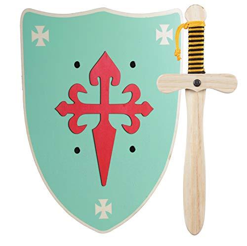GERILEO Spada con Scudo da Cavaliere di Legno Artigianale - Complemento per Giochi e Costumi. Disponibile in Diversi Colori. (Scudo Verde)