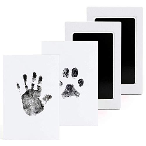 2 Kit de Marco Para Manos y Huellas de bebé para niño y niña, Huella Mascota Tinta con 4 Impresión Tarjetas, Recuerdo memorable, regalo para recién nacidos, Ideal decoración o regalo de baby shower