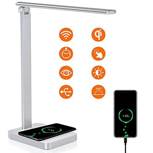 Schreibtischlampe LED Dimmbare Tischleuchte Arbeiten mit Alexa Googel Home, USB LED Tischlampe mit Induktiv 10W QI Wireless Charger, 3 Farb und 6 Helligkeitsstufen Memory Funktion Nachttischlampe