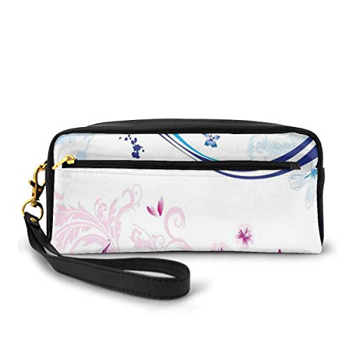 Pencil Case Pen Bag Pouch Stationary,Modern Digital Swirls Ivy Flowers Leaves and White Backdrop Image,Small Makeup Bag Coin Purse
