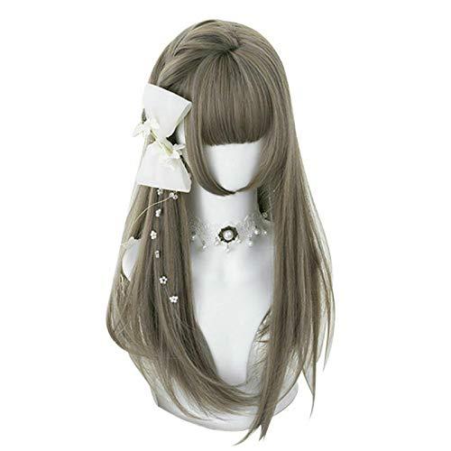 Vrouwen haar pruik 55 CM Lolita Leuk Multi-Color lang krullend Bangs Partij Japan synthetische pruik Vrouwen Cosplay Haar stukken (Color : H762438N, Stretched Length : 22inches)