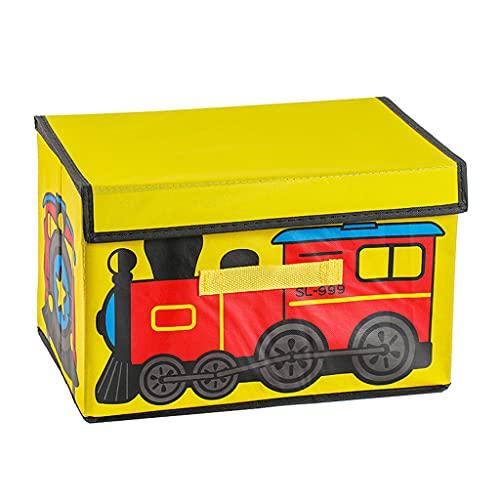 SHOTAY Cofre de juguete para niños, plegable para niños, organizador de cubos de almacenamiento con asas, cubo de juguete para niños, color amarillo