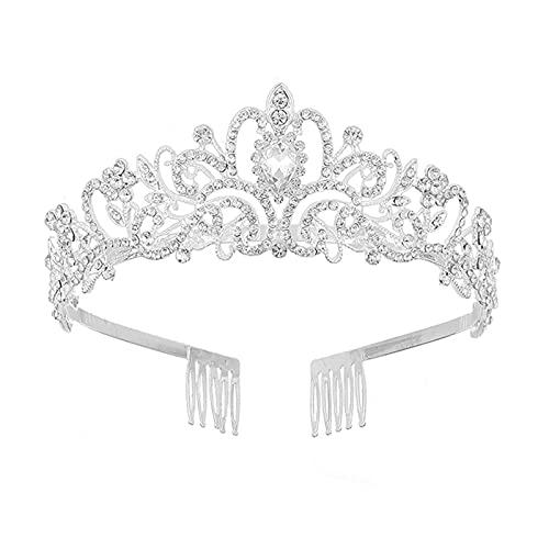 Diamante ImitacióN Reina Nupcial Plata Tiara con Corona Cristal para El Pelo...