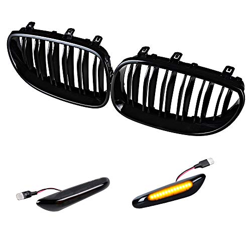 Glossy Black Front Upper Kidney Grille Dual Slats & Turn Signals Side Marker Light Compatible with 2004-2010 BMW E60 E61 5 Series 4-Door