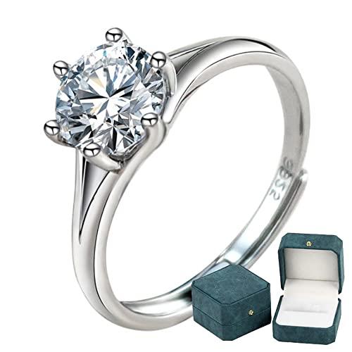 Anillo de compromiso de plata de ley 925 para mujer Corona 6 puntas que abrazan 1 quilate Moissanite Diamante Anillo ajustable Joyería de boda Caja de anillo de lujo
