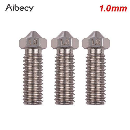 Cigooxm 3pcs 3D Printer Extruder Stainless Steel Nozzle M6 Thread Printer Head 0.2mm Output for Sidewinder X1 TEVO Little Monster 1.75mm Filament