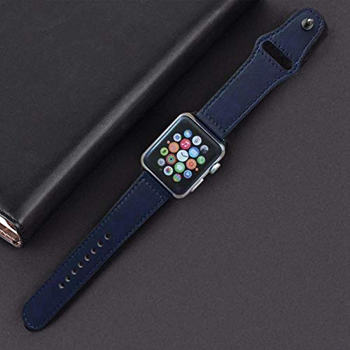 Correa para apple watch band correa de cuero genuino 42mm 38mm correa de reloj para iwatch 44mm 40mm series se 6 5 4 3 2 1 brazalete cinturón-azul medianoche, 38mm serie 1 2 3