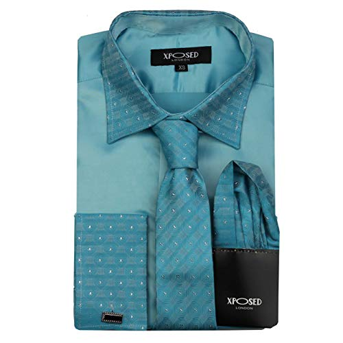 Camisa formal para hombre con cuello de borde plateado, doble puño con tacto satinado, vestido de novia, incluye corbata, pañuelo, gemelos - Azul - 5X-Large