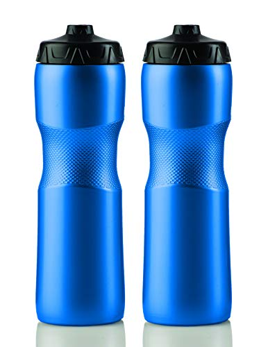 Sports Squeeze Water Bottle with One-Way Valve - Two Pack - Set of 2 Leak Proof Squirt Waterbottles...