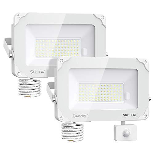 Onforu 2× 60W Foco Exterior LED con Sensor de Movimiento, 6000LM IP66 Impermeable Proyector Foco LED, Iluminación de Seguridad con Detector, Igual a 300W Luz Halógena Blanco Frío para Patio Pared