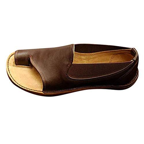JiaMeng Damen Platform Sandals, Sommer Bequeme Elegante Sandalen Big Toe Hallux Valgus Unterstützung Flach Back-Strap Roma Zehentrenner Hausschuhe Strand Reise Schuhe