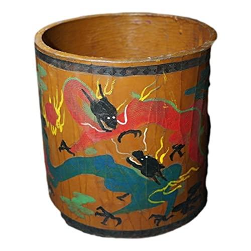 LAOJUNLU Antiguo Tibetano Lacquerware Lacado Tallado Pintado Ssangyong Titular De La Pluma Antigua Colección De Solitario Chino Estilo Tradicional Joyería