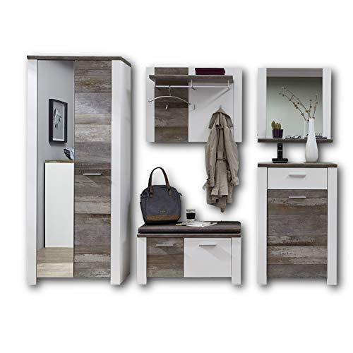 MATEO Garderoben Set in Weiß mit Driftwood Optik - Moderne Flurgarderobe für Ihren Eingangsbereich - 269 x 198 x 39 cm (B/H/T)