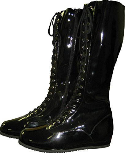 MyPartyShirt Black Adult Wrestling Boots-Adult Extra Small