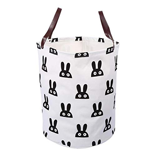 YUUGA Storage bags, Canvas Handbag Laundry Basket Storage Bag w/Leather Handles for Baby Kids Room Decor 8Patterns(Bunny Bucket)