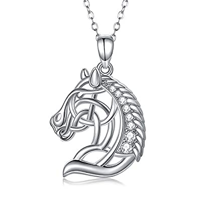 JUSTKIDSTOY Horse Head Pendant Necklace Sterling Silver Horse Necklace with AAA Cubic Zirconia Stocking Stuffers for Women Daughter Cowgirl Horse Lovers