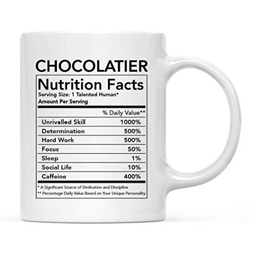 Divertida taza de cerámica para té y café, regalo de agradecimiento, información nutricional de chocolatero, paquete de 1, novedad, mordaza, cumpleaños, Navidad, ideas para regalos, compañero de traba
