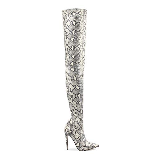 Thigh High Boots for Ladies Shoes Snakeskin Pointed Toe Super Thin High Heels Long Over The Knee Boots Bottine Femme Size 38 Light Grey