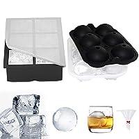 gozheec stampi per ghiaccio in silicone 2 pezzi stampi per ghiaccio in certificato fda stampo per cubetti di ghiaccio riutilizzabile senza bpa per cocktail whisky e altre bevande, 6 sfere+ 6 scomparti