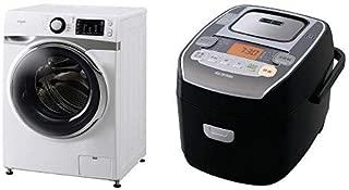 【セット販売】アイリスオーヤマ ドラム式洗濯機 7.5kg 温水洗浄機能付き 左開き 幅595mm 奥行672mm 2019年モデル HD71 & 炊飯器 圧力IH式 3合 銘柄炊き分け機能付き 大火力 ブラック RC-PA30-B セット
