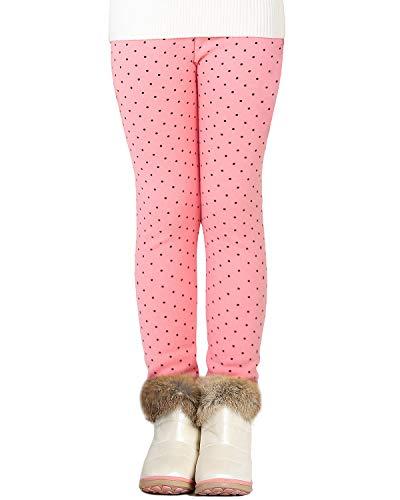 Adorel Mädchen Leggings Gefüttert Dick Hosen Baumwolle Pink Pünktchen 116 EU (Herstellergröße 120)