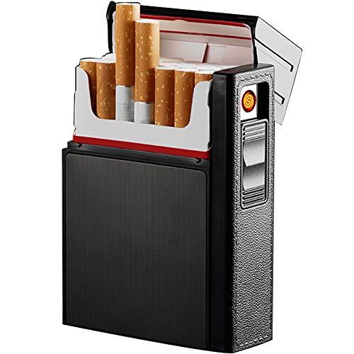 Zigarettenetui mit Feuerzeug,Zigarettenbox,für 20 Stück Normale Zigaretten,tragbar,USB-Feuerzeug,wiederaufladbar,flammenlos,Winddicht,elektrisches Feuerzeug