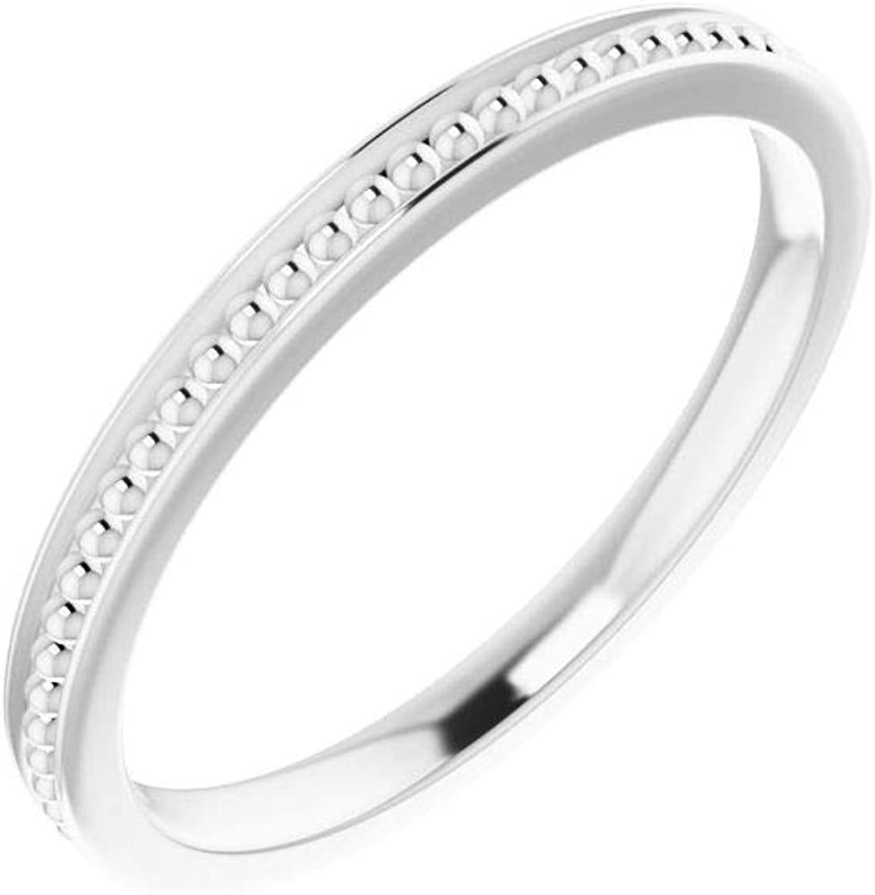 Stackable Wedding Anniversary Bead Ring Band (Width = 2.1mm)