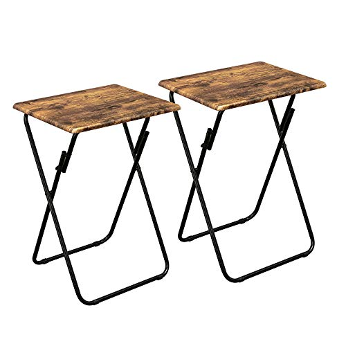 Aingoo Folding TV Trays Set of 2 Small Foldable Snack Tables for Eating Writing Pinic Multi-Function Dinner Desk with Wood Top and Metal Frame for Home Office Vintage