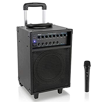 Pyle Wireless Portable PA System-400W Bluetooth Compatible Rechargeable Battery Powered Outdoor Sound Stereo Speaker Microphone Set w/Handle Wheels-1/4 to AUX RCA Cable  PWMA230BT