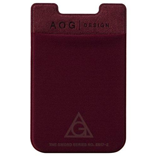 AOG DESIGN Ultra Slim Stick On Adhesive Credit Card Wallet, Card Holder for Smartphones (Burgundy)