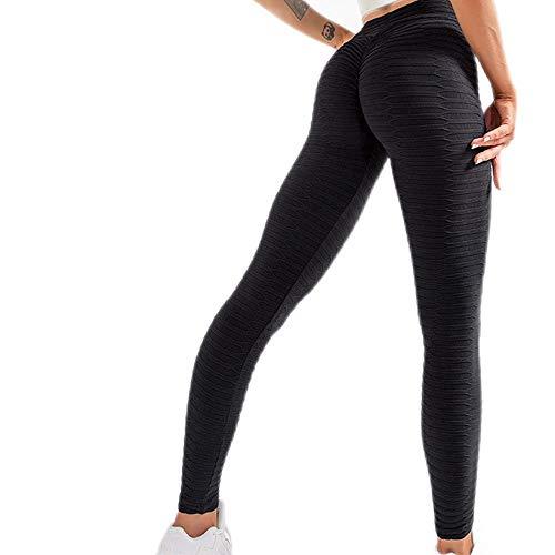 Damen-Yogahose mit hoher Taille, gerüschter Po, Gewichtheben, Jacquard-Leggings, Bauchkontrolle, Po, Lift, Weiß, Schwarz, Gelb, Spandex