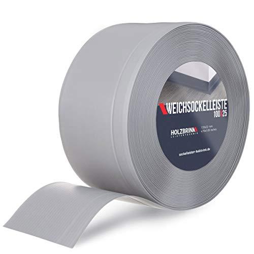 HOLZBRINK Weichsockelleiste Grau Knickleiste ohne Klebestreifen, Material: PVC, 100x25mm, 5 Meter