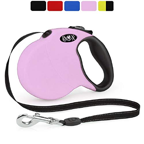 DDOXX Roll-Leine reflektierend, ausziehbar | viele Farben & Größen | für kleine & große Hunde | Gurt-Leine Hundeleine einziehbar Welpe Katze | Hundeleinen Zubehör Hund | XS, 3 m, bis 8 kg, Rosa Pink