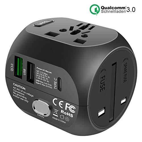Milool Reiseadapter mit QC3.0 Schnellladung Typ C und 2 USB (US/EU/UK/AU) 30W All-In-One Reiseladegerät für über 150 Länder, 2 Sicherungen (Schwarz)