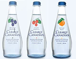 Clearly Canadian Sparkling Flavored Water (6 Pack, including 2 of each) Mountain Blackberry, Country Raspberry, Orchard Peach)