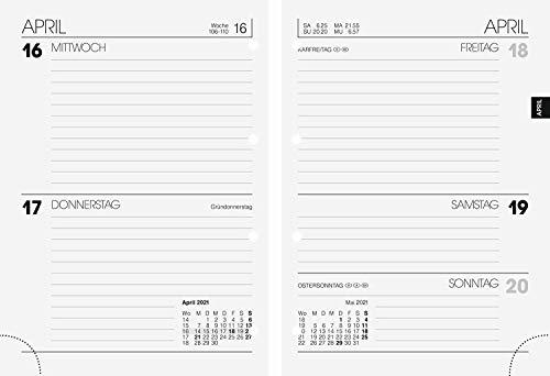 BRUNNEN 1073427001 Timer Ringbucheinlage Modell 734, 2 Seiten = 1 Woche, 10 x 14 cm, Kalendarium 2021