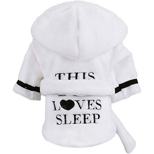 Stock Show Pet Pajama with Hood Thickened Luxury Soft Cotton Hooded Bathrobe Quick Drying and Super Absorbent Dog Bath Towel Soft Pet Nightwear for Puppy Small Dogs Cats, White, S