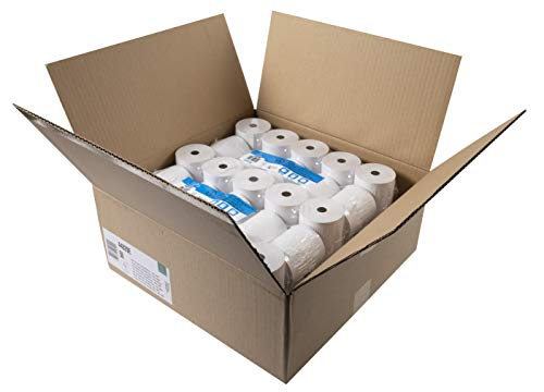 Exacompta - Réf. 44829E - Carton de 50 bobines pour caisse 80x75mm - 1 pli thermique 44g/m2 sans BPA - Blanc - Métrage (+ ou - 2m) : 80 m.