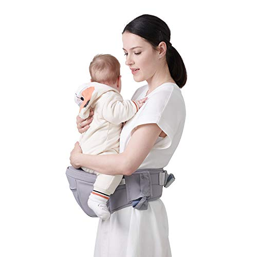 SUNVENO Baby Hipseat Carrier, Ergonomic Reduce Waist Hip Seat for Mom, Lightweight Certified Fabrics Soft Carrier for Newborns, Toddlers, Children, 6-48 lbs, Grey