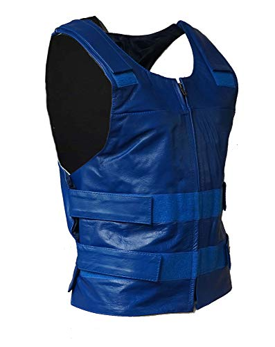 IKleather Mens Bullet Proof style Leather Motorcycle Vest for bikers Club Tactical Vest (XL, Blue)