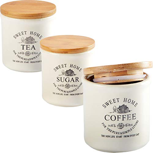 DRULINE Geschirrset Kombiservice Keramik Sweet Home Shabby Chic 3er-Set Dosen mit Bambus-Deckel (1 x Tea, 1 x Sugar, 1 x Coffee) 9,5 x 10,5 cm