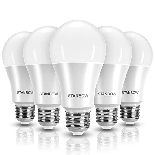 E27 LED Lampe, STANBOW 13W Glühlampe Ersetzt 100W Glühbirne, A60 Leuchtmittel, 1200 Lumen 3000 Kelvin Warmweiß Birne, 180° Abstrahlwinkel 5 Stück [Energieklasse A+]