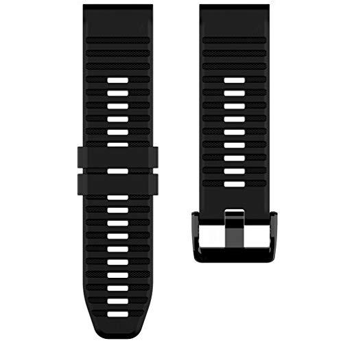 WEQQ para Garmin Fenix6 Correa de Silicona de liberación rápida Fenix5 Correa de Reloj Deportivo (Negro)