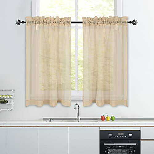 Taupe Short Sheer Curtains 36 inch Length Tier Curtains Rod Pocket Sheers Cafe Curtains Linen Like Privacy Semi Sheer Drapes Half Window Curtain for Basement Bathroom Small Windows 34X36 Inch